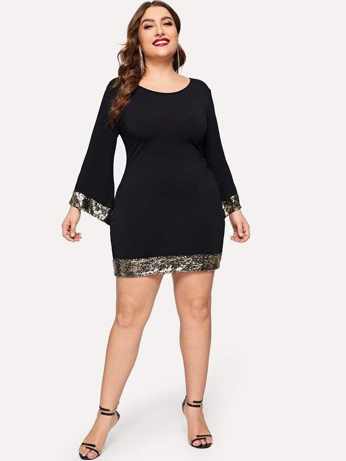 Shein Plus Contrast Sequin Dress  Dress Plus Size Moda