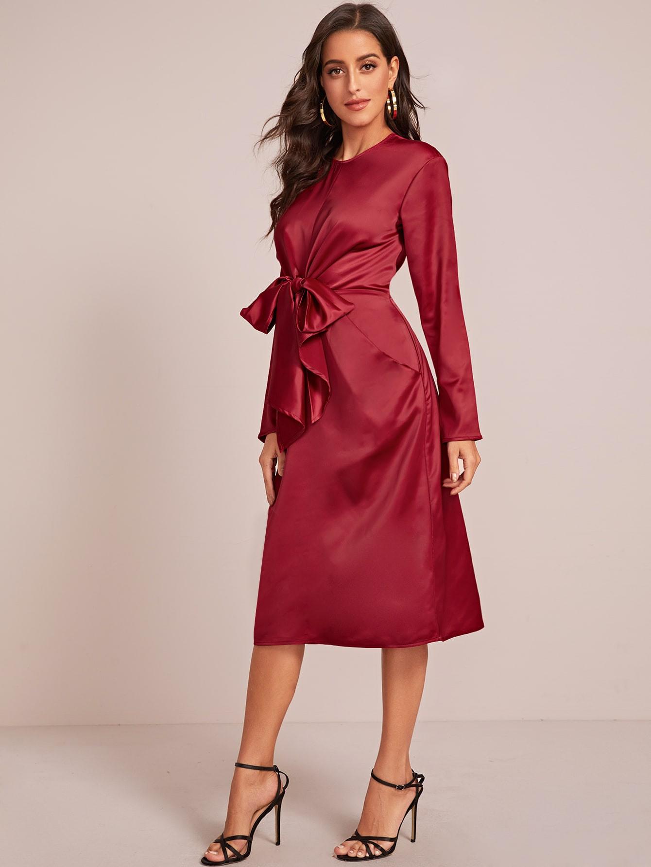 Shein / Rot Große Schleife Einfarbig Elegant Kleider