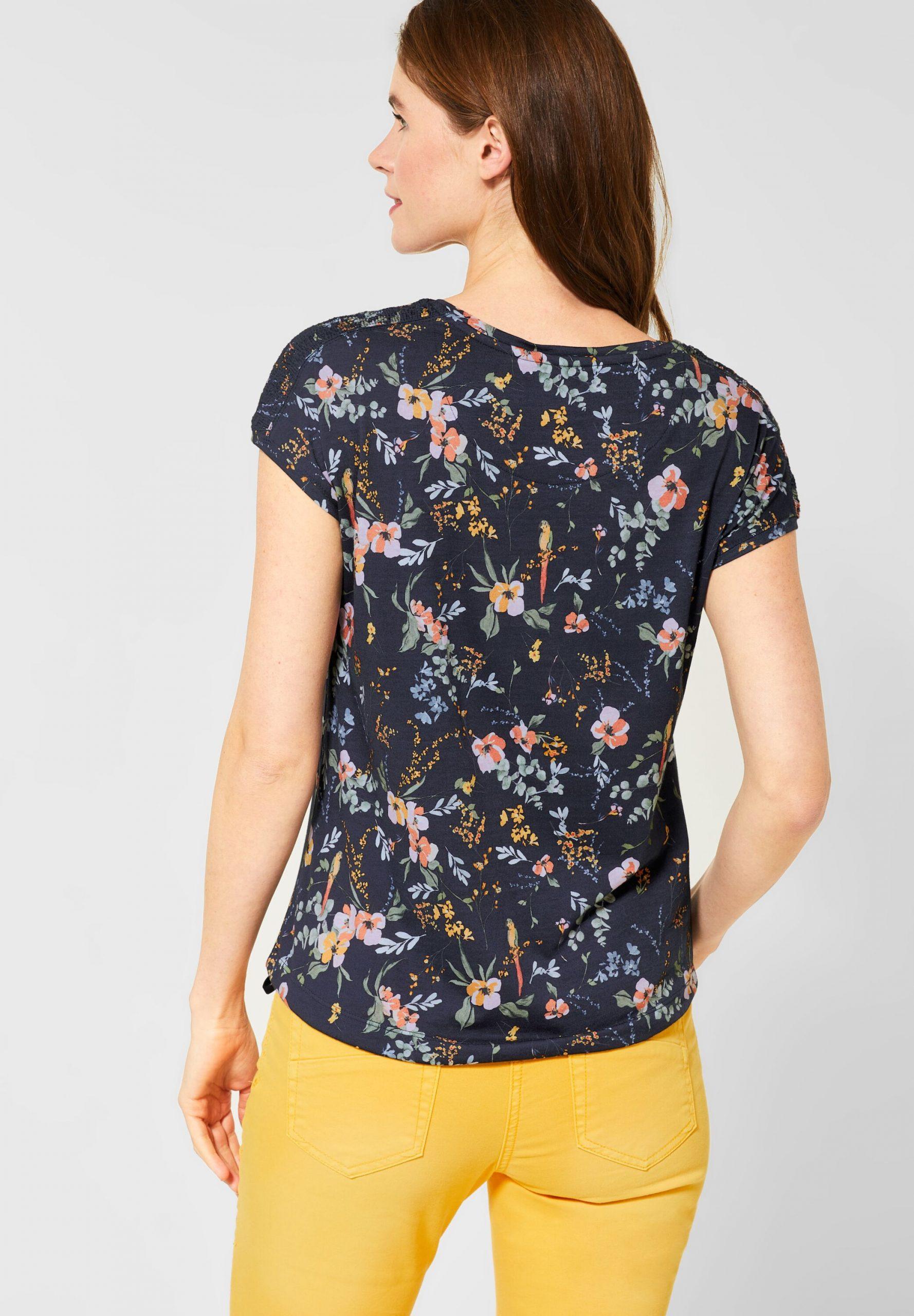 Shirt Mit Gesmokter Schulter In Deep Blue Von Cecil Neu Kaufen