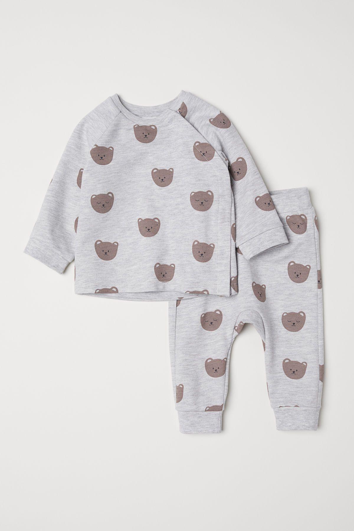 Shirt Und Hose  Hellgraumeliert/Bären  Kinder  Hm De