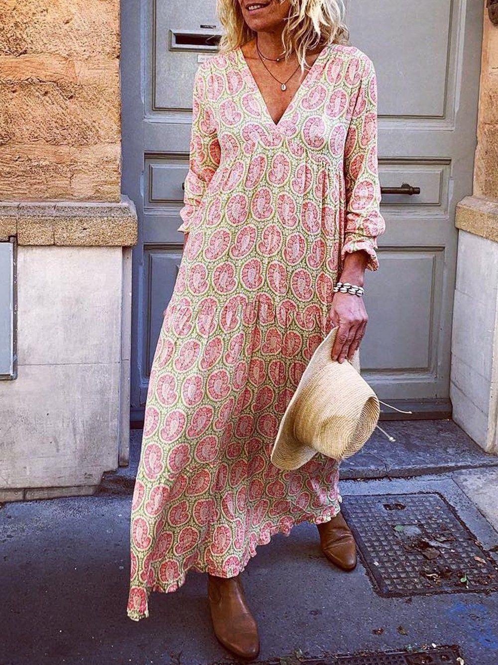 Shop Kleider  Weiß Beiläufig Floral Gedruckt Kleider