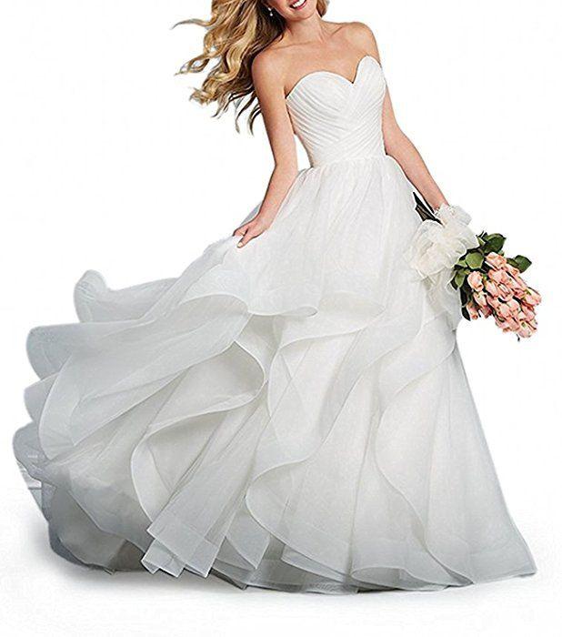 Shoppen Sie Memory Damen Elegant Hochzeitskleider Lang