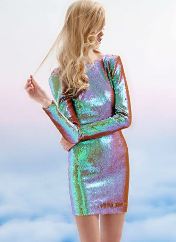 Silber Paillettenkleid  Kadinhayat/Stil