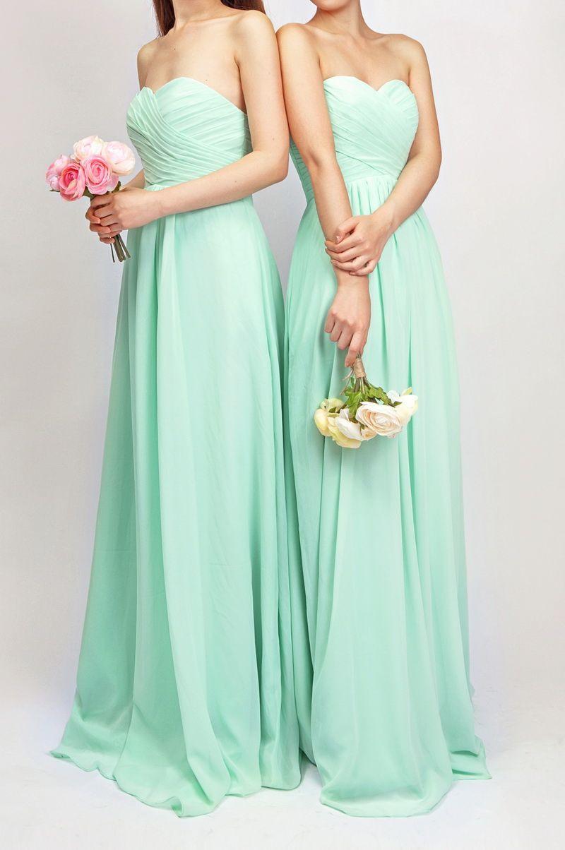 Simple Long Mint Bridesmaid Dresses 138  Brautjungfern