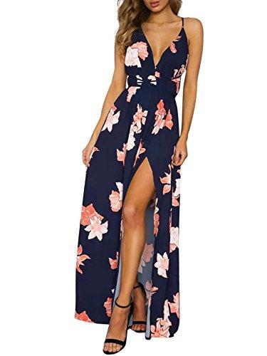 Simplee Apparel Damen Chiffon Maxikleid Elegant Blumen