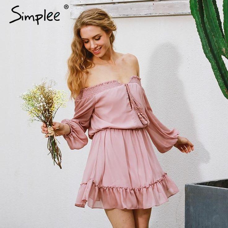 Simplee Short Chiffon Vintage Kleid Frauen Schulterfrei