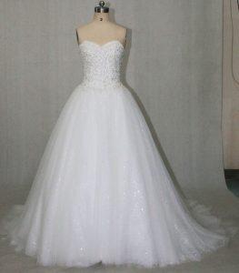 Sissi Brautkleider Hochzeitskleid Glitzer Tüll Perlen