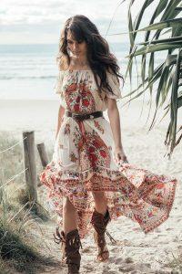 Size Xl Bohemian Style Floral Print Dress Sexy Slash Neck