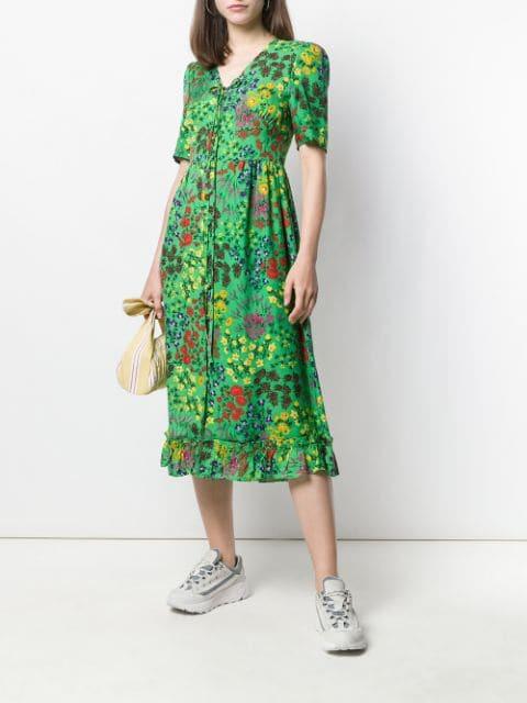 Sjyp Kleid Mit Blumenprint Damen 041 Green Kleidung