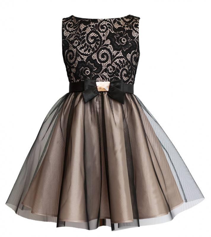 Sly Mädchen Kleid Party Hochzeit Einschulung Schwarz