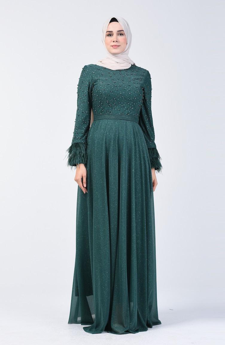 Smaragdgrün Hijababendkleider 306202  Sefamerve