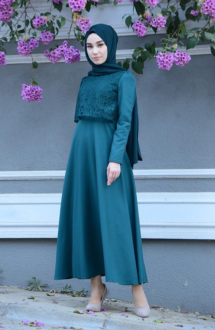 Smaragdgrün Hijap Kleider 903203  Sefamerve