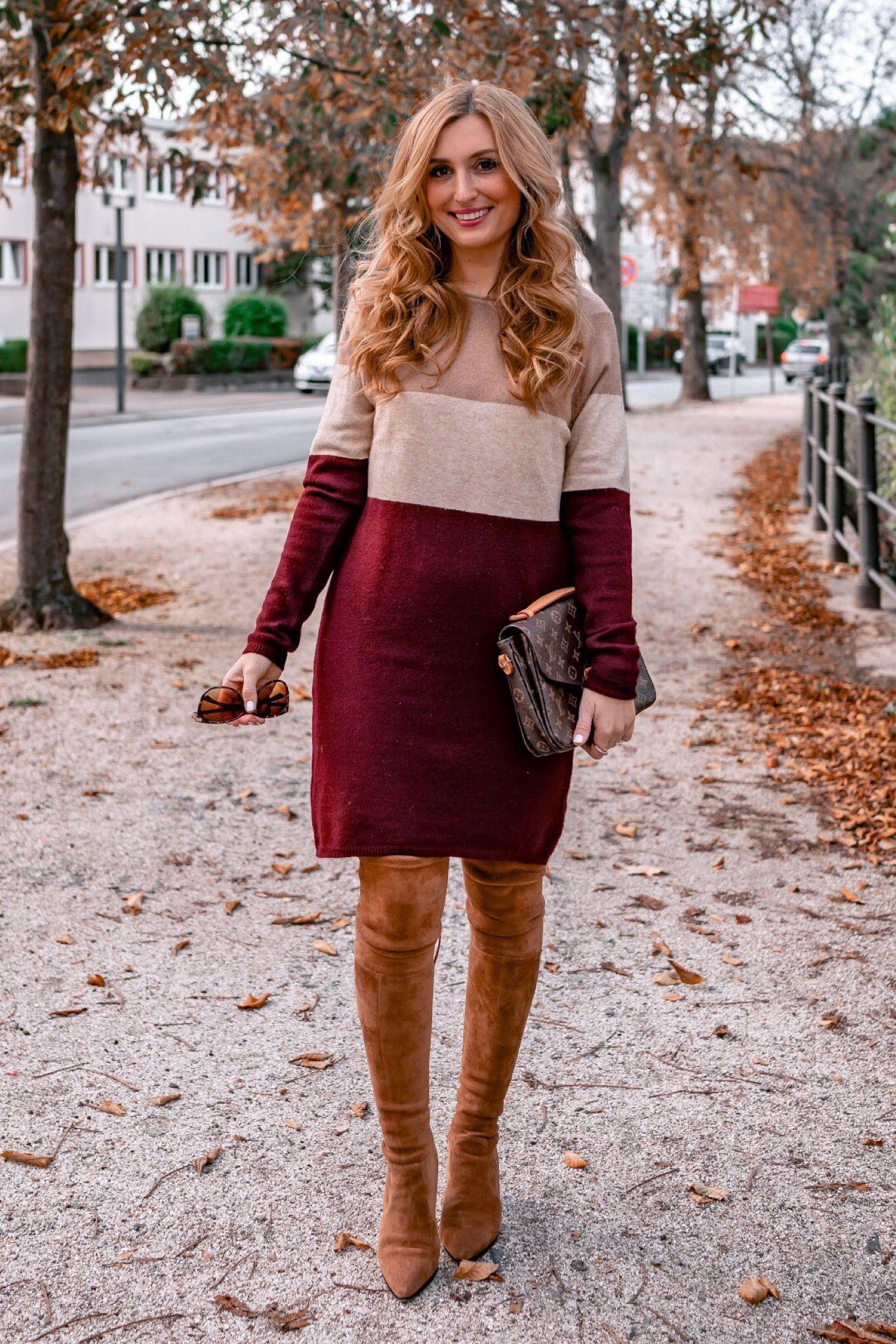 So Kannst Du Overknee Stiefel Im Herbst Mit Einem Kleid