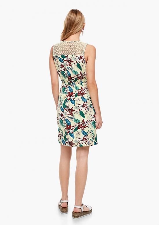 Soliver Kleider  Damen Viskosekleid Mit Spitzenpasse