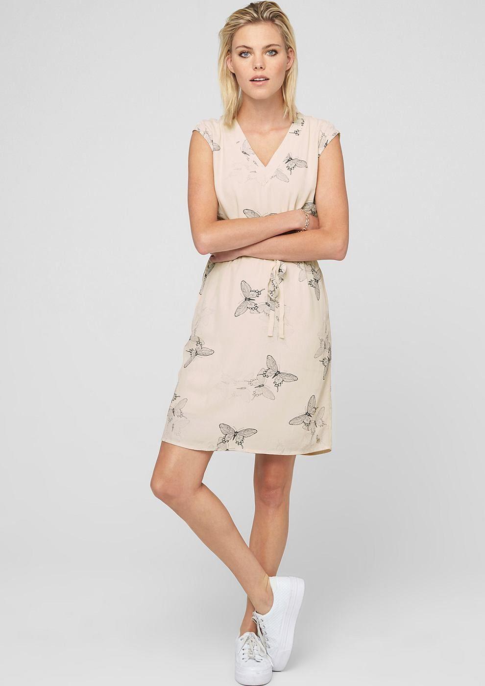 Soliver Sommerkleid Mit Musterprint Weiß  Sommerkleid