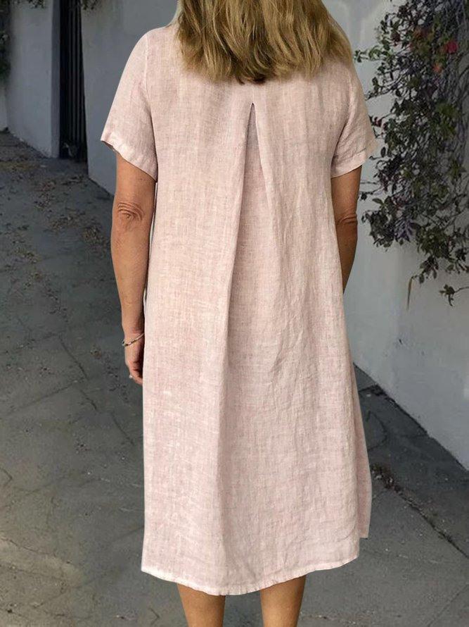 Sommer Einfarbige Leinenkleider Damen Mit Taschen