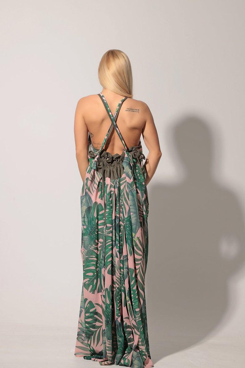 Sommer Kaftan Kleid Gedruckt Blumenkleid Leinen Kaftan  Etsy