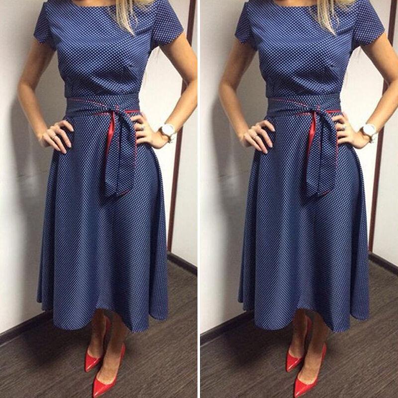 Sommer Kleid Damen Elegant Lang Maxikleid Party Abendkleid