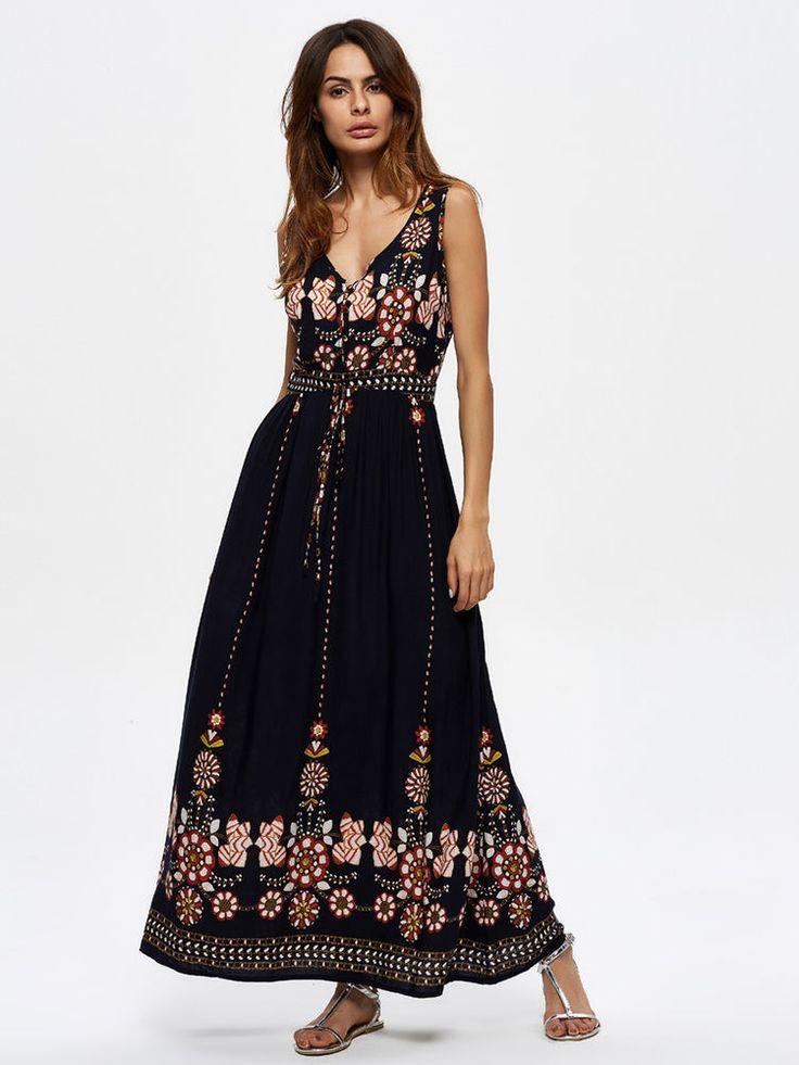 Sommer Kleid Lang Baumwolle Vorne Goldene Knöpfe Hippie