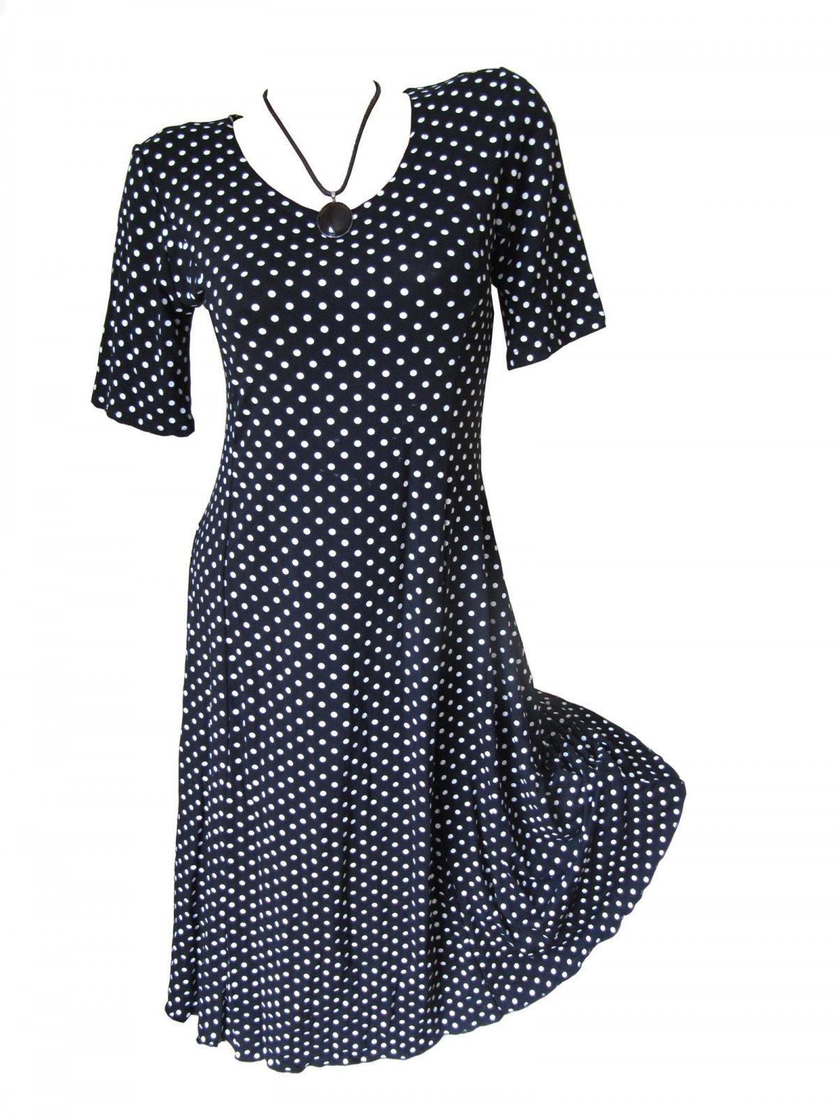 Sommer Kleid Tunika Punkte Kurzarm Wadenlang Akb Mode