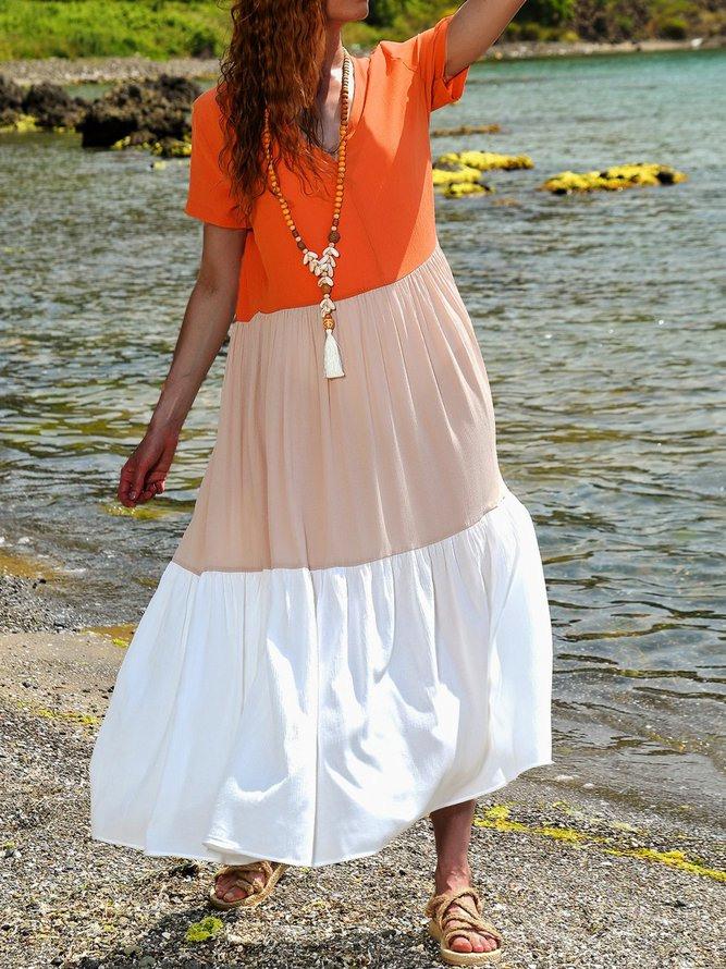 Sommer Maxikleid Große Größen Paneeliert Kurzarm Kleider