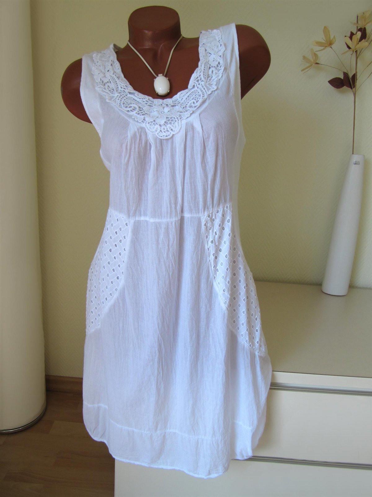 Sommer Tunika Kleid Häkel Spitze Loch Stickerei 38 40 42