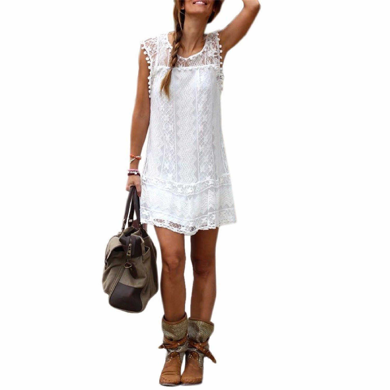 Sommer Weisse Minikleid Frauen Spitze Kleid Beilaeufiges