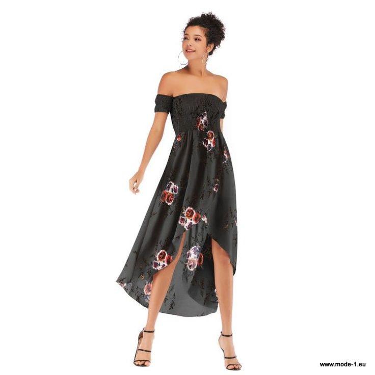 Sommerkleid 2019 Schulterfreies Kleid Mit Blumen Muster