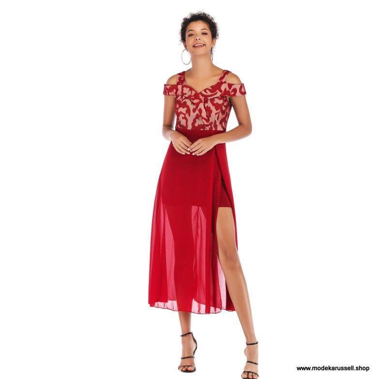 Sommerkleid 2019 Stilvolles Patchwork Kleid In Rot Mit