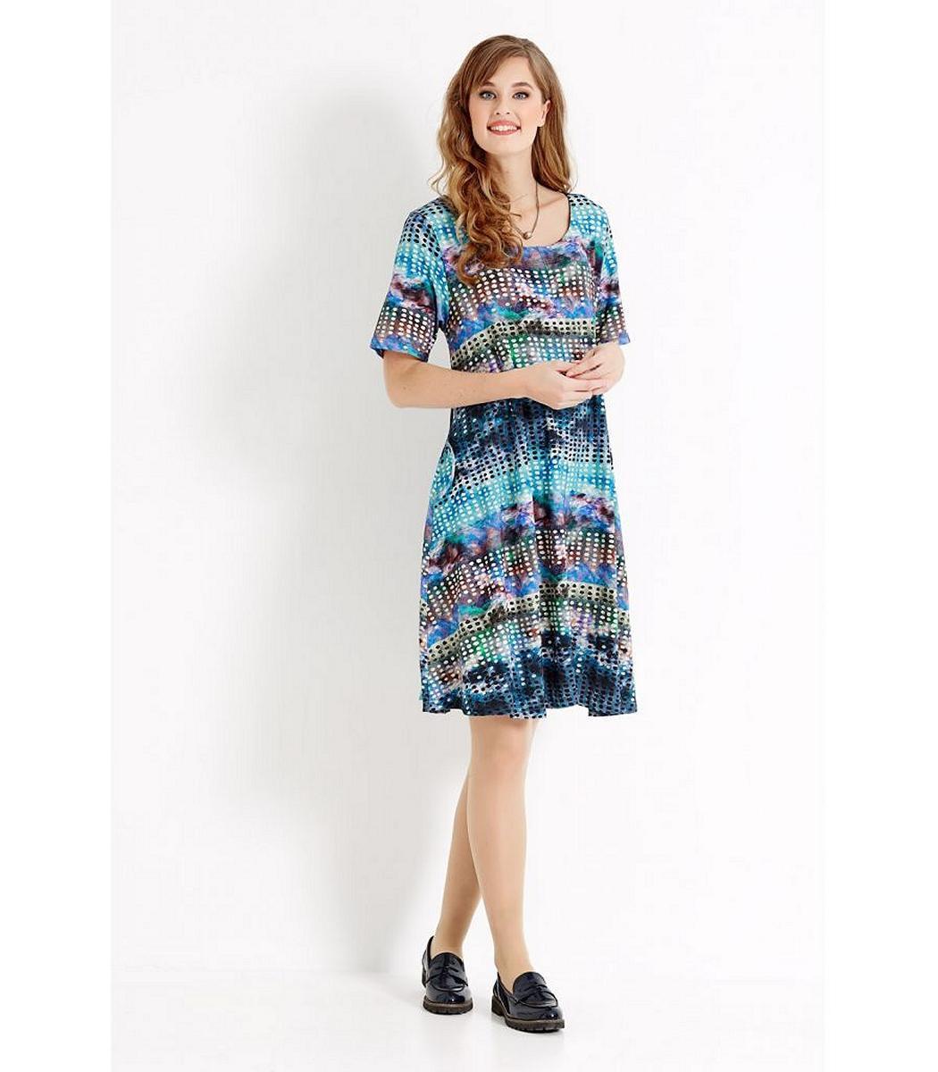 Sommerkleid Damen Alinie Große Größen Knielang Blau Kurzarm