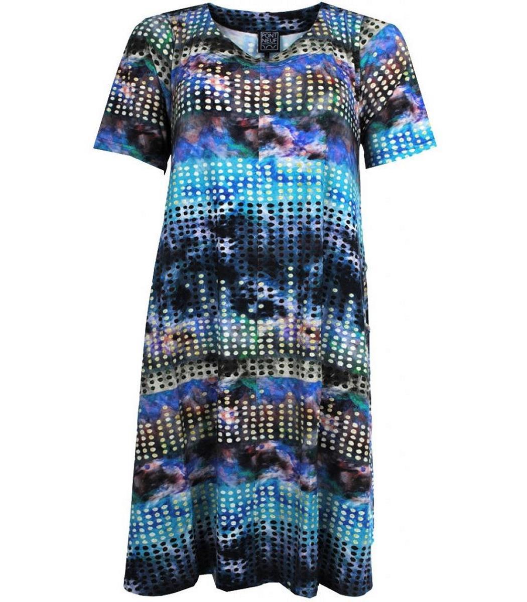 Sommerkleid Damen Alinie Große Größen Knielang Blau