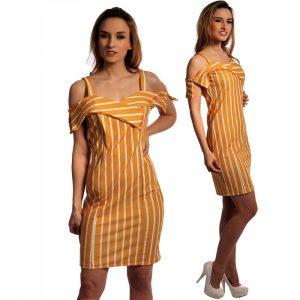 Sommerkleid Im Aktuellen Streifen Design Mit Träger Und