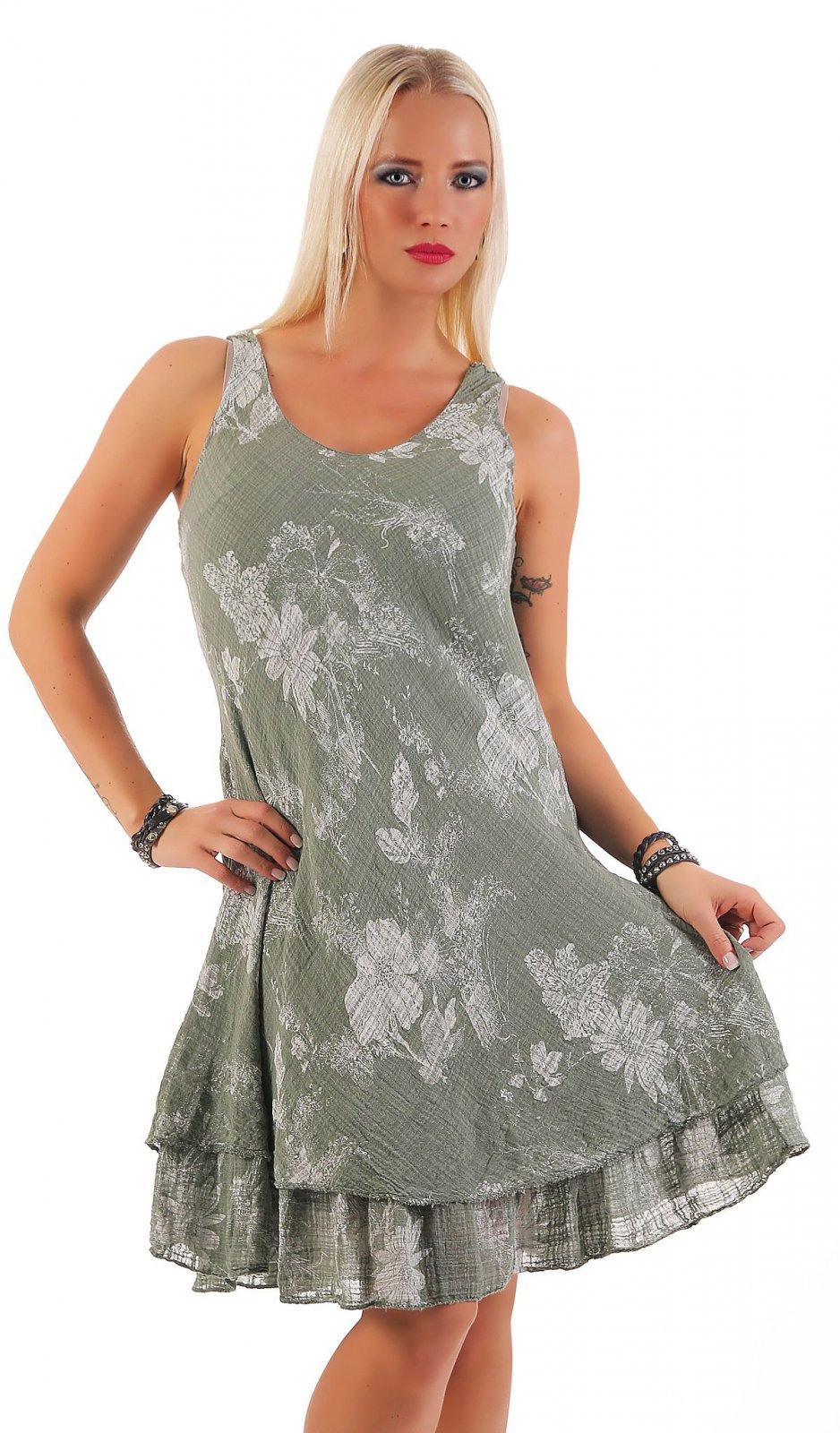 Sommerkleid Knielang Doppellagig Baumwolle Kleid