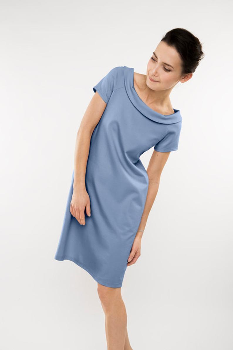 Sommerkleid Kragen Kleid Blaues Kleid Midikleid Elegantes