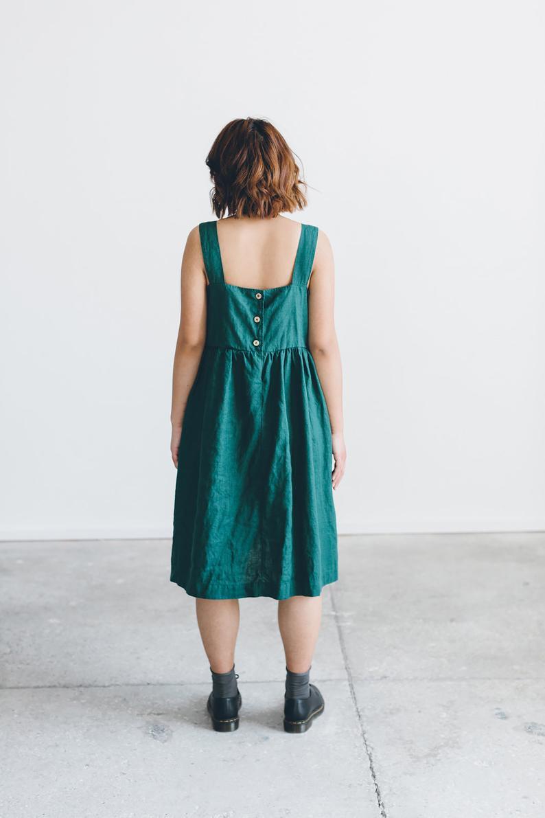 Sommerkleid / Leinen Kleid / Sommer Leinen Kleid / Midi