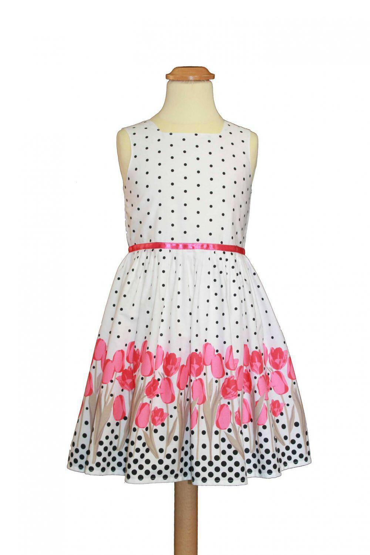 Sommerkleid Mädchen Kleid Tulpen Pink  Wwwkinderkram
