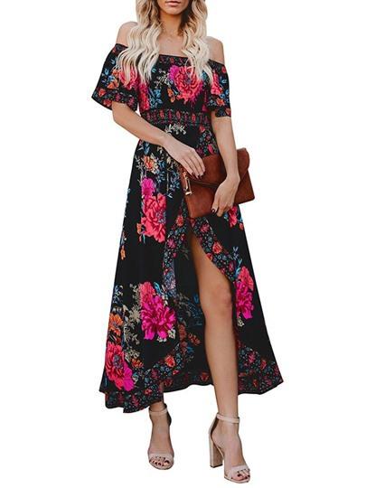 Sommerkleider Damen Maxi Kleid Off Shoulder Strandkleid