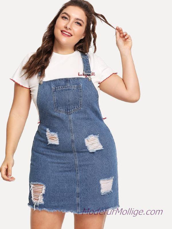 Sommerkleider Große Größe Denim Gesamtkleid  Mode Für Mollige Damen