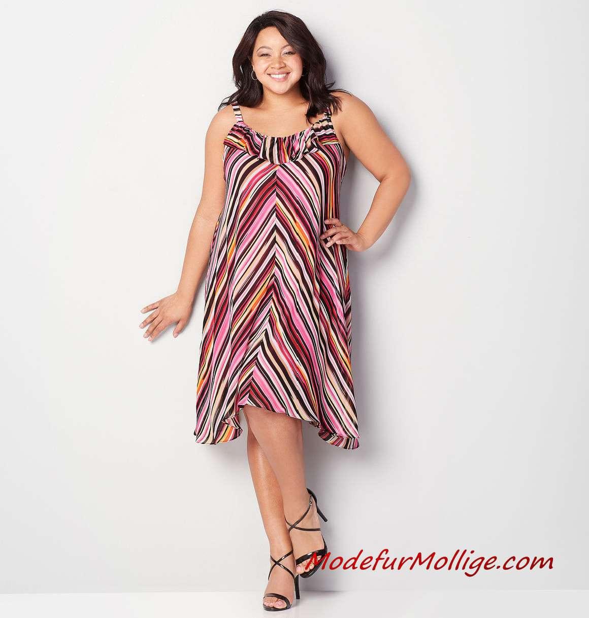 Sommerkleider Große Größe Frauen Multi Streifen Rüschen Alinie Kleid  Mode Für Mollige Frauen