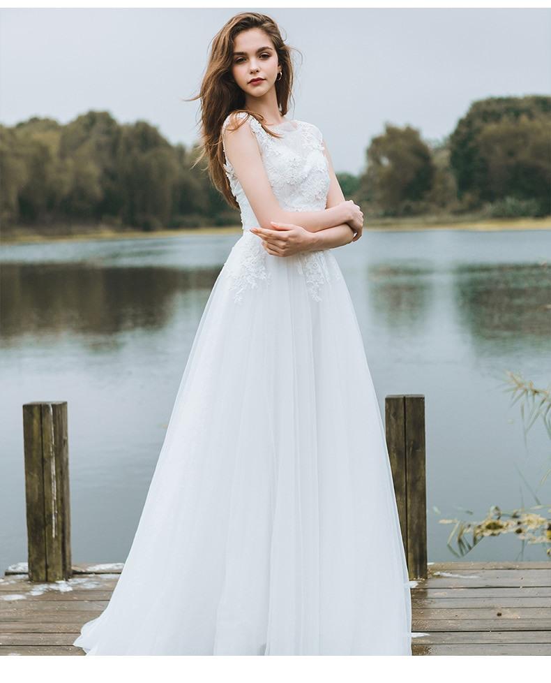 Sonderangebot Sleeveless Weiß Hochzeit Kleid Strand