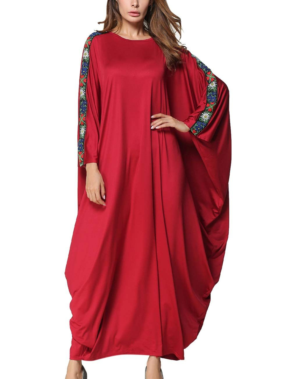 Spdycess Damen Abaya Kleid Elegantes Blumen Kaftan Frauen