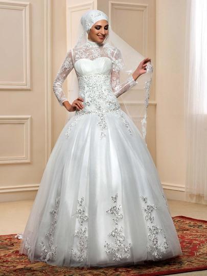 Spitze Applikation Langarm Alinie Hochzeitskleid
