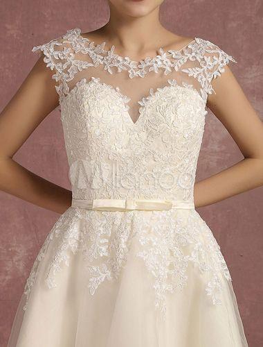 Spitze Hochzeit Kleid Kurze Illusion Vintage Brautkleid