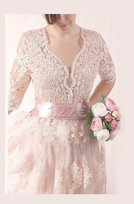 Spitze Plus Größe Langes Hochzeitskleid Rot