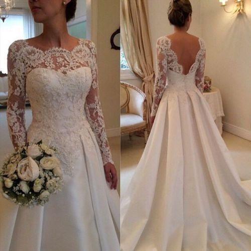 Spitze Weiß Elfenbein Brautkleid Hochzeitskleid Abendkleid