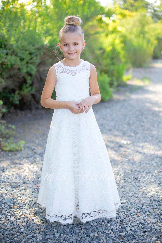 Spitzemädchenkleid Aus Weißer Spitze Kleid Elfenbein