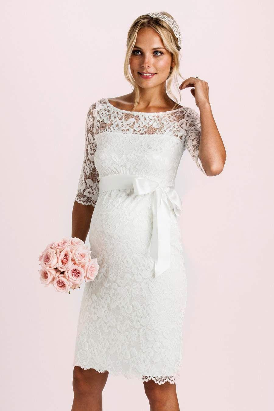 Spitzen Brautkleid Mit Schärpe  Pregnant Wedding Dress