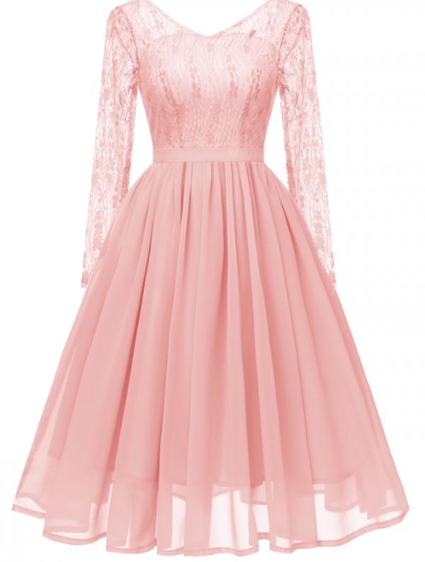 Spitzen Langarm Ballkleid Noralva Rosa  Abendkleider