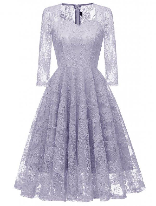 Spitzen Langarm Ballkleid Noralyne Blau  Abendkleider