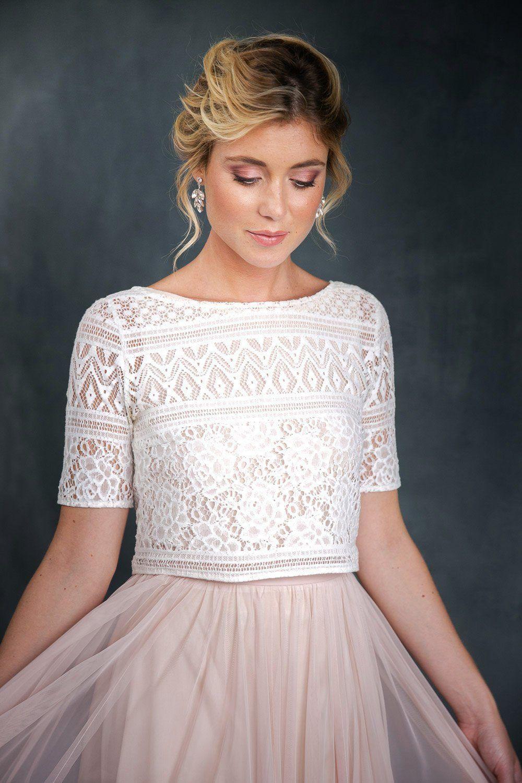 Spitzentop Weiß Für Die Braut  Violet  Kleid